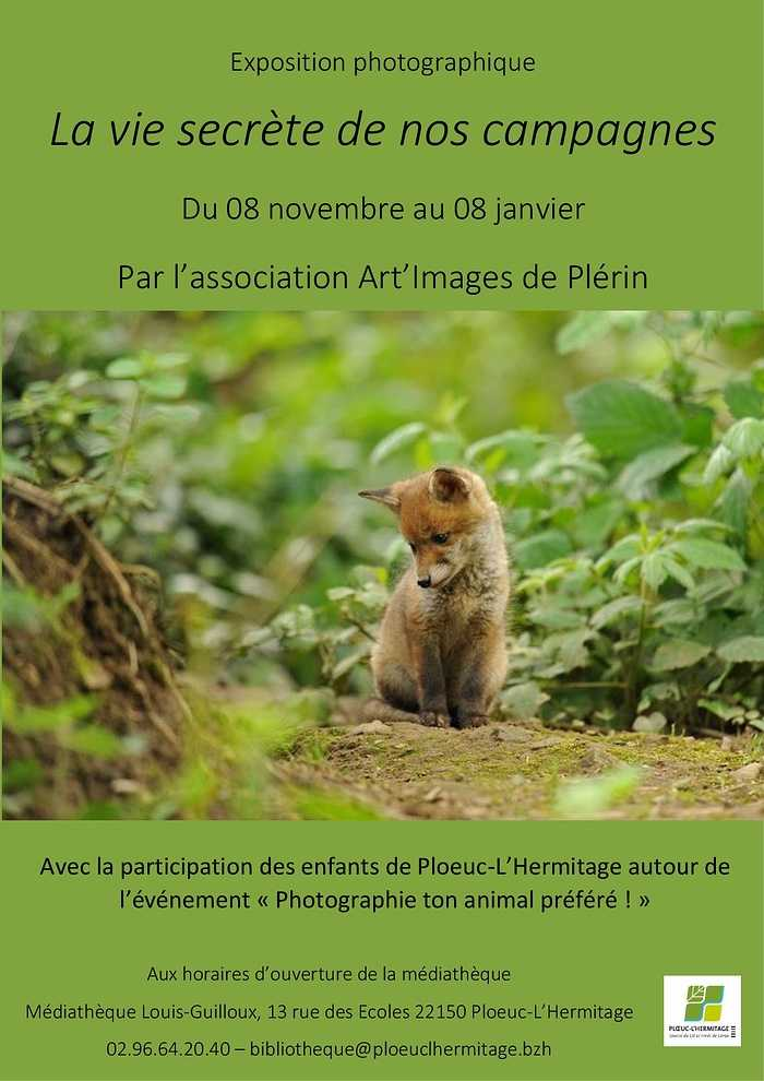 """EXPOSITION PHOTO ANIMALIERE """"LA VIE SECRETE DE NOS CAMPAGNES"""" A LA MEDIATHEQUE 0"""