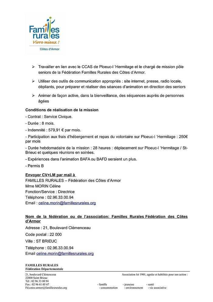 Service Civique - Animation pour personnes âgées annonceserviceciviqueploeuc1-2