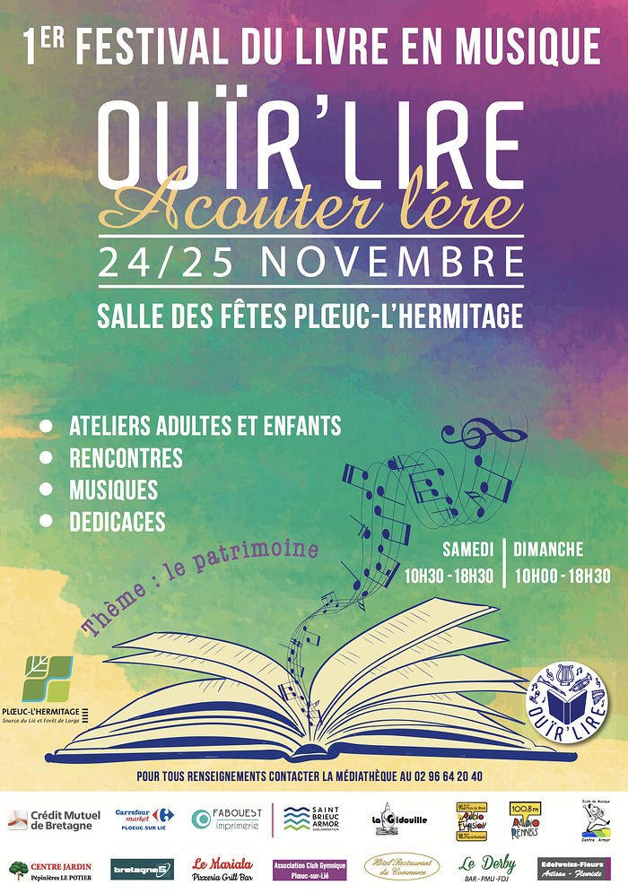 Festival Ouïr''Lire à Plœuc-L''Hermitage afficheouirlire2018ploeuchermitage